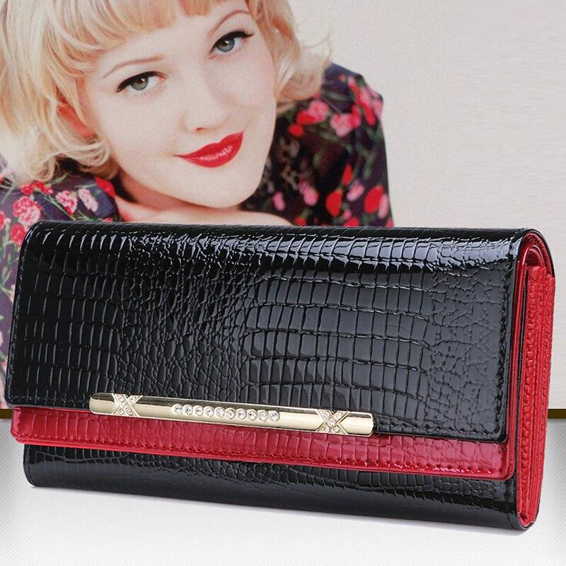 2015 Fashion Genuine Leather Wallet Long Woman Wallet Crocodile Pattern Purse Ladies Fashion Bag Female Clutch