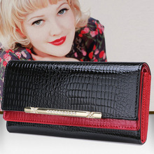 2015 Fashion Genuine Leather Wallet Long Woman Wallet Crocodile Pattern Purse Ladies Fashion Bag Female Clutch Purse Women Brand