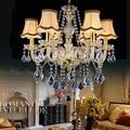 Современная люстра Farbic с абажуром  6 лампочек E14  хрустальная люстра  светильник для лестницы  Подвесная лампа  P478-6