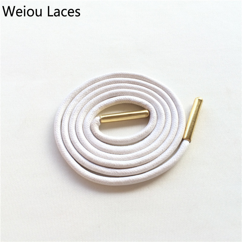 Weiou Gold Metal Aglets Dress Shoe Strings Waxed Colored Shoelaces Round Waterproof Bootlaces For Leather Shoes Free Shipping