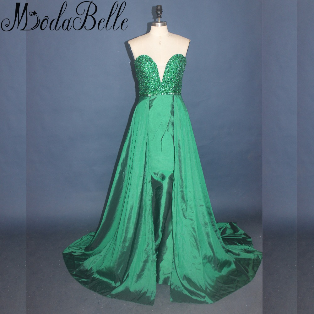 Modabelle Green Crystal Beaded Long Prom Dresses 2017 Sexy Sweetheart Party  Dresses Prom Sleeveless Satin Girls Homecoming Dress-in Prom Dresses from  ... afce96a3dce2