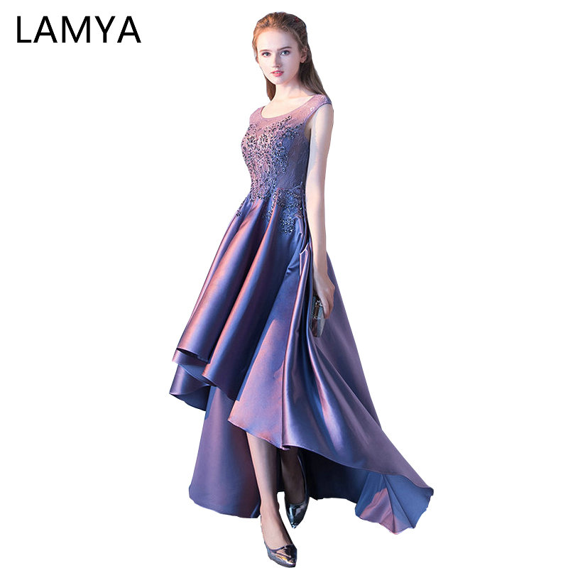 LAMYA Women High Low Satin   Prom     Dress   O Neck Lace Evening Party   Dresses   2019 Back Short Front Long Back vestido de festa