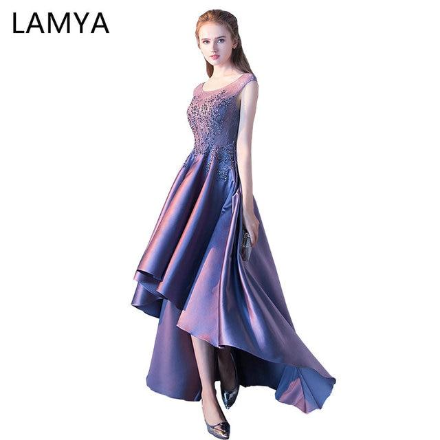 Lamya Women High Low Stain Prom Dress O Neck Lace Evening Party Dresses 2018 Black Short Front Long Back vestido de festa