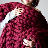 Hand Chunky Knitted Blanket Large Soft Warm Winter Bed Sofa Plane Cobertor Blanket Thick Yarn Merino Wool Bulky Knitting Blanket