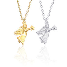 Vintage Little Angel Jesus Necklace for women Golden Silver Metal Catch Star Pendant Zinc Alloy Jewelry Gift