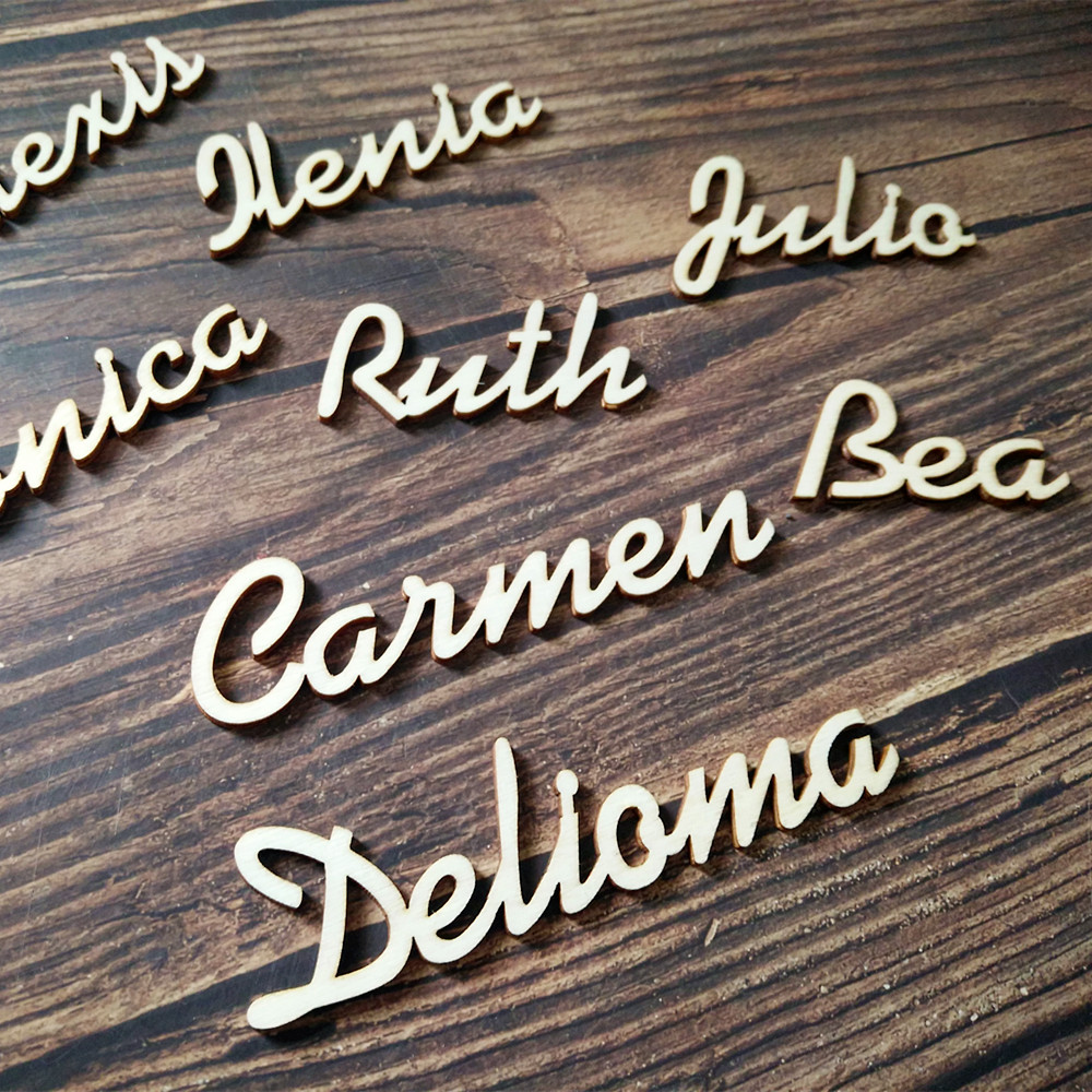 100pcs Personalized Customized Wood Wooden Guest Place Names for Wedding Place Card Bonbonniere Table Decorations Setting