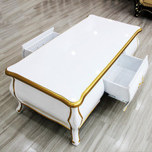 European-style coffee table TV cabinet combination of solid wood with drawer silver depiction simple rectangular tea teasideend