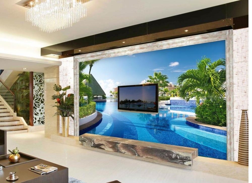 3d tapete für moderne wohnzimmer wandmalereien schwimmbad villa ...