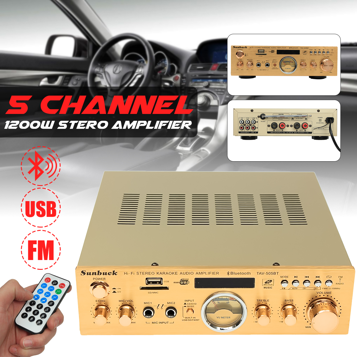 Sunbuck TAV-505BT 400W+400W HiFi Bluetooth Power VU Meter Amplifier Stereo Karaoke FM USB SD 100x car dome light 18 smd 5630 18smd 5730 led car interior roof panel reading auto with t10 ba9s festoon 2 adapters white 12v