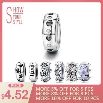 WOSTU Real 925 Sterling Silver 9 Estilos Coração & Clear CZ Spacer Stopper Beads fit Wostu original Charm Bracelet Jóias CQC593