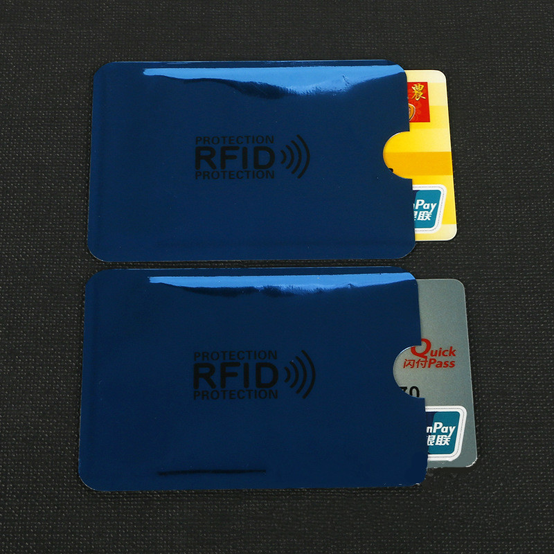 10 Pcs Blue Anti-Scan Card Sleeve Credit RFID Card Protector Anti-magnetic Aluminum Foil Portable Bank Card Holder
