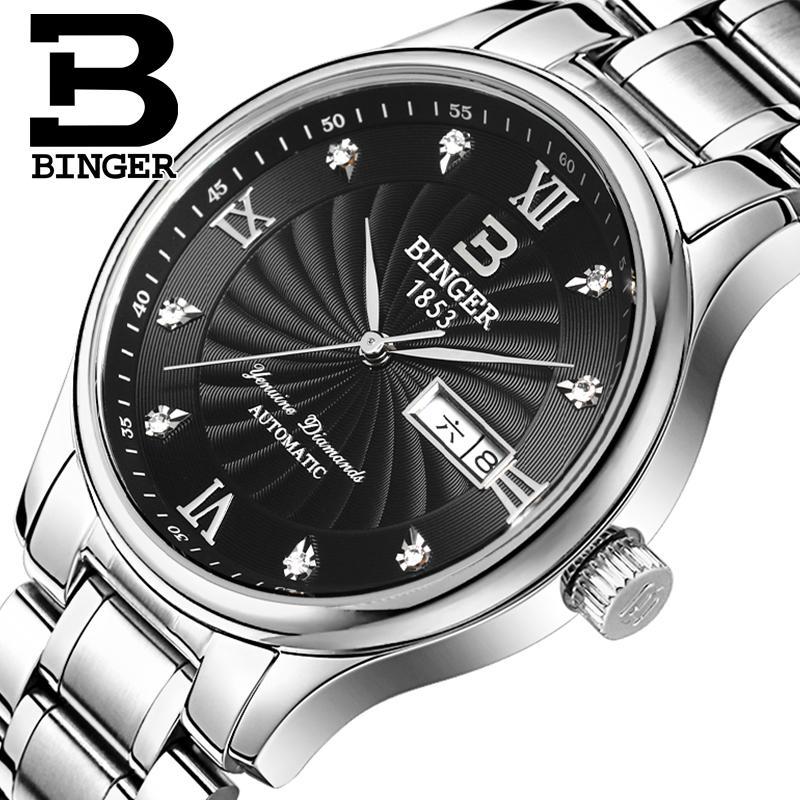 Switzerland men Wristwatches luxury brand watches BINGER luminous Quartz Wristwatches full stainless steel Waterproof B603B