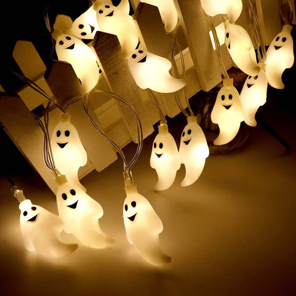 Cute Halloween Led String <font><b>Light</b></font> Ghost Skull <font><b>Decorative</b></font> <font><b>Lights</b></font> Fairy LED Garland Outdoor Indoor <font><b>Decoration</b></font> Battery Powered JQ image