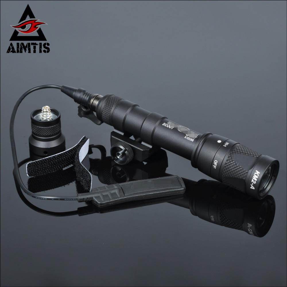 AIMTIS M600 M600V Scout Light Hunting Strobe Flashlight Gun Weapon For 20mm Weaver Picatinny Rail Base 1913 Mount цена
