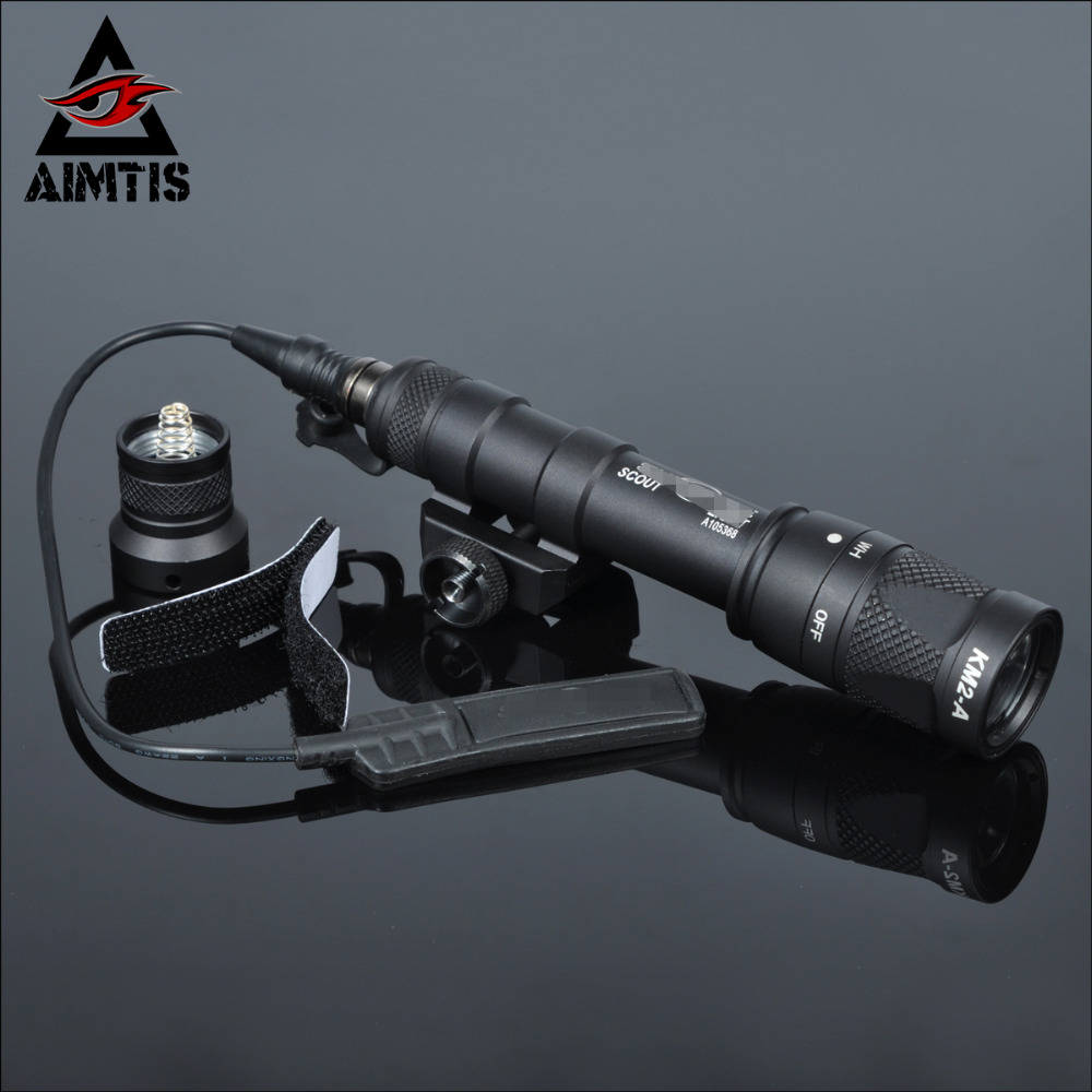 AIMTIS M600 M600V Scout Light Hunting Strobe Surefire Flashlight Gun Weapon For 20mm Weaver Picatinny Rail Base 1913 Mount aimtis m300b mini scout light tactical rail light rifle hunting flashlight constant momentary output for 20mm picatinny rail