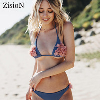 ZisioN 2018 Limited Releases Sexy Halter Bikinis Women Bathing Suit Micro Swimsuit Stereo Flower Swimwear Women Bikini Set