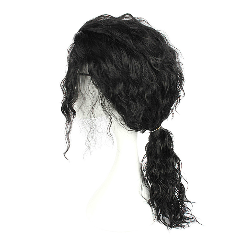Allaosify Cosplay Black Wig Long Wavy Curly Wig for Heat Resistant Fiber Wigs Cosplay Anime Wig