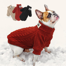 Щенок собака вязаный свитер для домашних животных с изображением котов; Утепленные зимние свитера классические соединенной с высоким, плотно облегающим шею воротником, маленькие собаки котята кошки, теплый и мягкий вязаный джемпер одежда XS-L