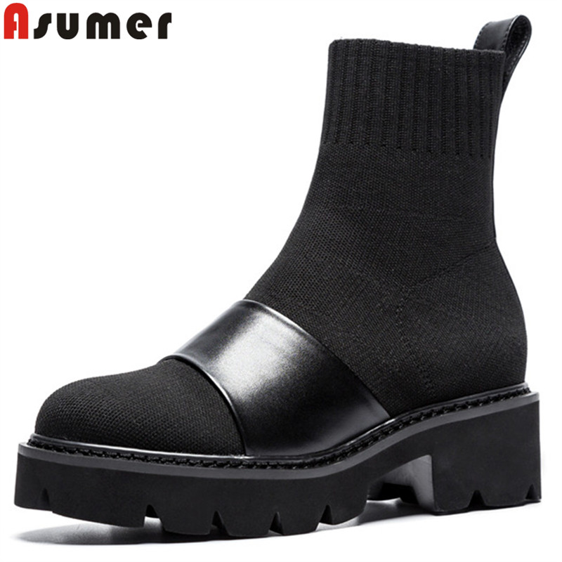 ASUMER 2020 fashion autumn boots women round toe square  heel ankle boots women knitting+cow leather boots platform-in Ankle Boots from Shoes    1
