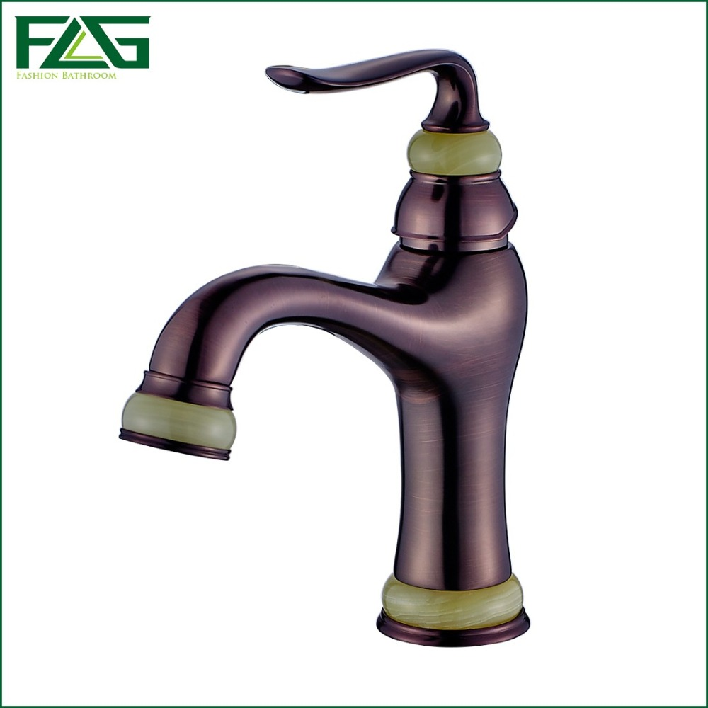 ФОТО FLG Free Shipping Oil Rubbed Deck Mounted Basin Faucets Jade Painting Bathroom Hot and Cold Water Mixer Taps Gold Crane 136-11LO