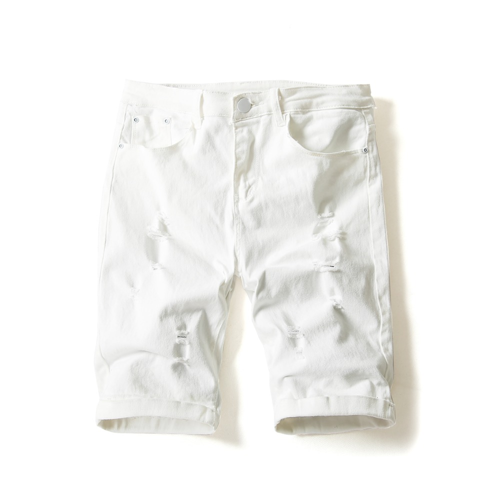 Men's Cotton Thin White Short Jeans Hole Denim Shorts Male Slim Stretch Shorts New Summer Short Pants Size 36