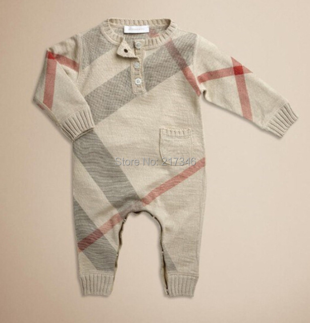 Fashion plaid Brand Baby rompers children rompers baby jumpsuits roupas de bebe Free shipping s1073