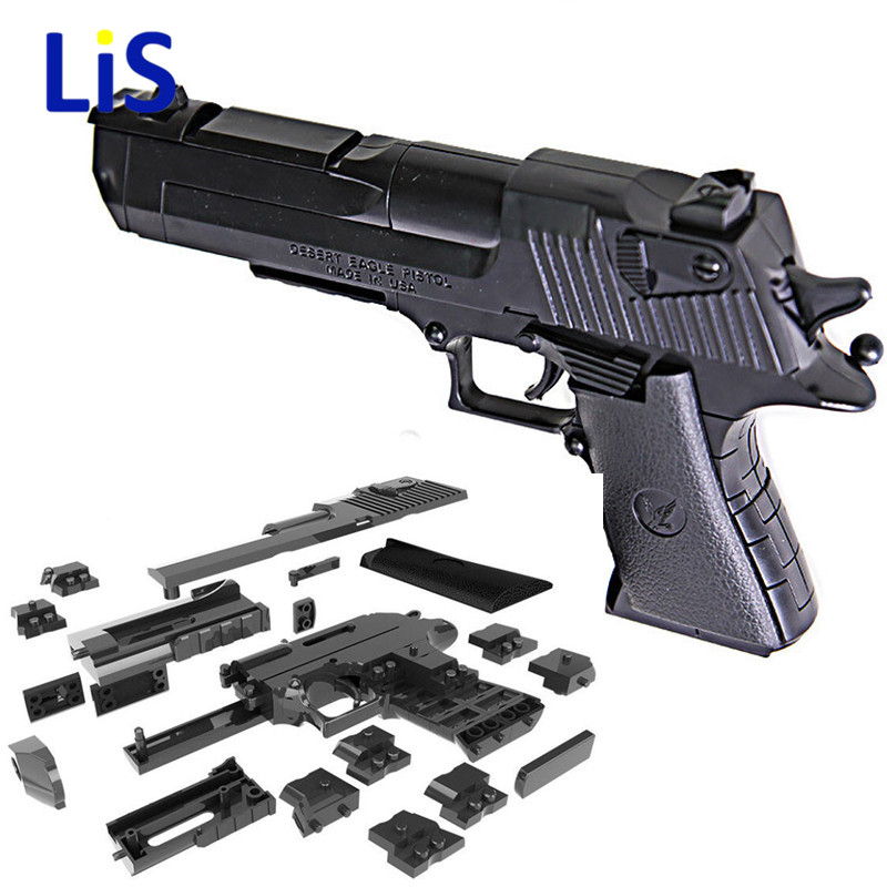 DIY Building Blocks Gun Desert Eagle Assembly Toy Puzzle Game Model Can Fire Bullets(Mung Bean) with Instruction Book Kids Toys