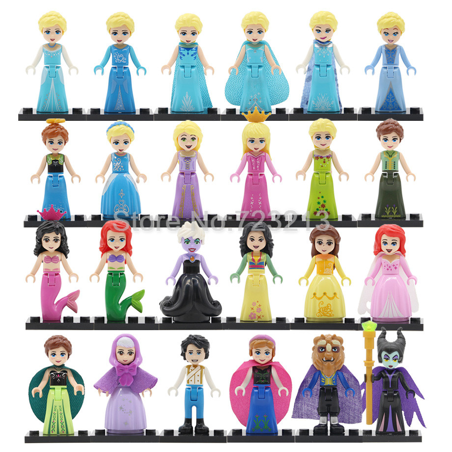 New Fashion Single Building Blocks Princess Girl Figure Snow World Series Alana Ariel Fairy Godmother Elsa Anna Elsa Action Toy For Children Model Building Toys & Hobbies