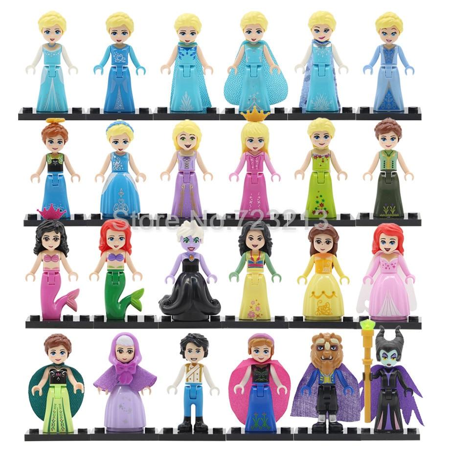 Single Sale Princess Girl Fairy Tale Figure Belle Doll Mulan Cinderella Ariel Olaf Alana Prince Tangled Building Blocks Set Toys