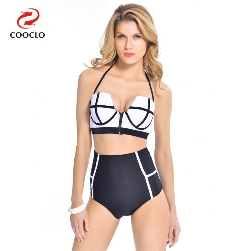 2016 New Neoprene Zipper Push Up High Waist Swimsuit Bikini Swimwear Bikinis Women Bathing Suit
