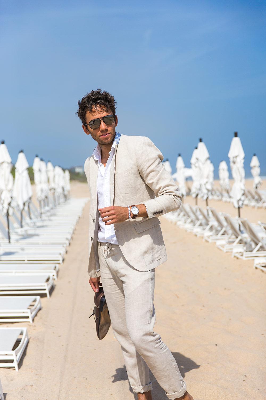Últimos diseños de pantalón de abrigo Marfil Blanco Lino Casual - Ropa de hombre