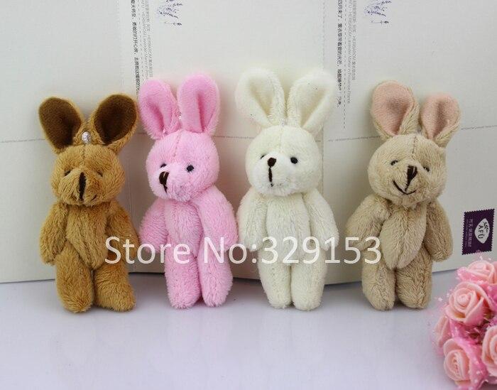 Н-8см прекрасный Мини Фаршированная Объединенная Кролик Подарков Цветов Упаковка Длинная шерсть Кролика 4 цвета 50 шт./лот
