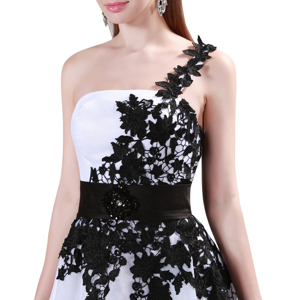 Grace Karin White and Black One Shoulder Lace Short Prom Dresses Ball Gown Knee Length School Party Dress Cute GK4288 12