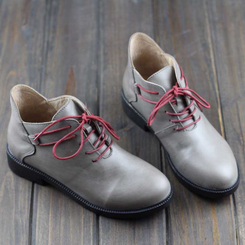 Women's Boots Genuine Leather Ankle Boots Round Toe Lace up Woman Shoes Female Spring Autumn Footwear (108) 2017 xiangban women ankle boots handmade genuine leather woman short boots spring autumn round toe female footwear