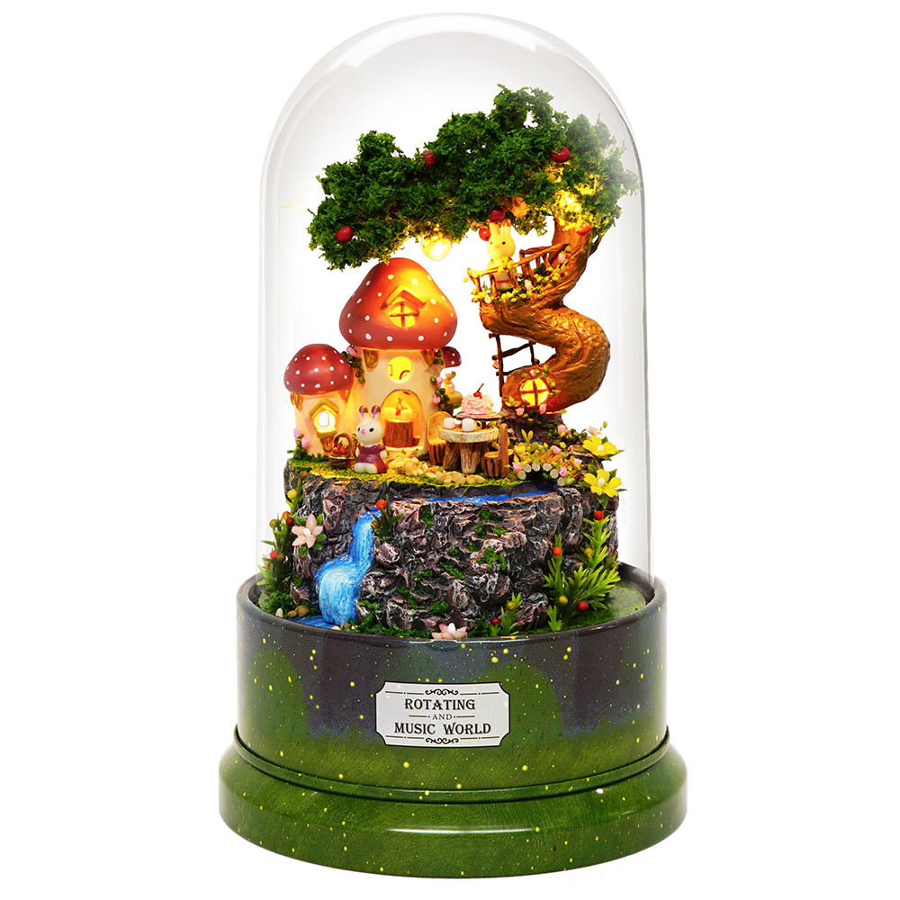 Casa de bonecas em miniatura diy casa de boneca com móveis de madeira casa brinquedos para crianças presente aniversário com capa poeira girar música 29