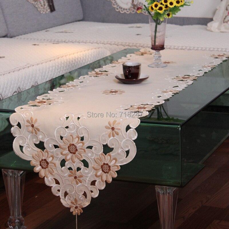 nuevo satn elegante margarita bordado camino de mesa bordado floral hecho a mano cutwork mantel cubierta