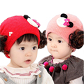 2016 Baby Wig Hat Infant Photography Props Baby Girl Princess Hat Set of Head Cap plus Velvet Thicken Warm for Autumn and Winter