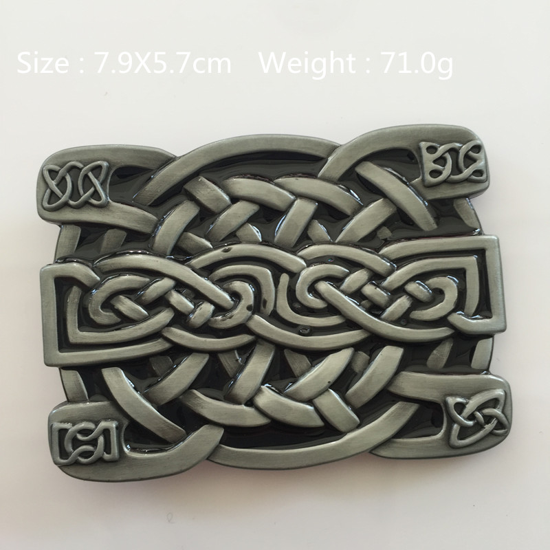 Retail New style knot belt Buckle 79*57mm 71g Silver Black High quality Metal For 4cm Wide Belt Mens Womens Jeans accessories