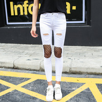 Women White Ripped Broken Hole Slim Cropped Jeans Summer Fashion New Sexy Mesh Patchwork Black Distressed