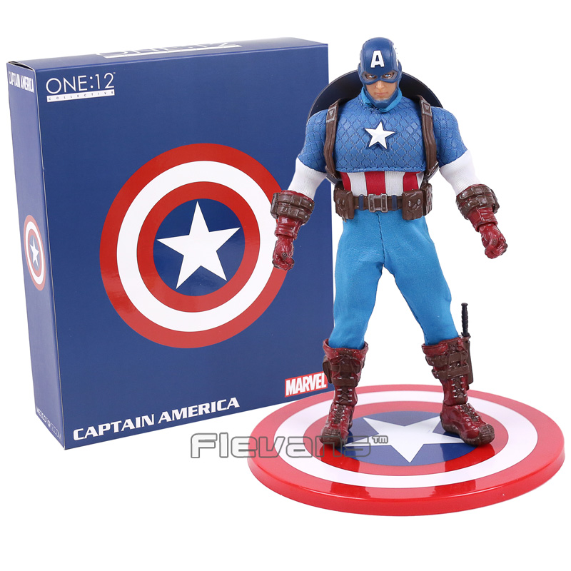 Marvel Super Hero Avengers Captain America 1/12 Scale PVC Action Figure Collectible Model Toy 16cm free shipping super big size 12 super mario with star action figure display collection model toy