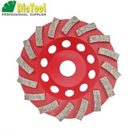 DIATOOL Dia125MM Segmented Turbo Diamond Grinding Cup Wheel For Concrete And Masonry Material, 5 Inch Diamond Grinding Discs