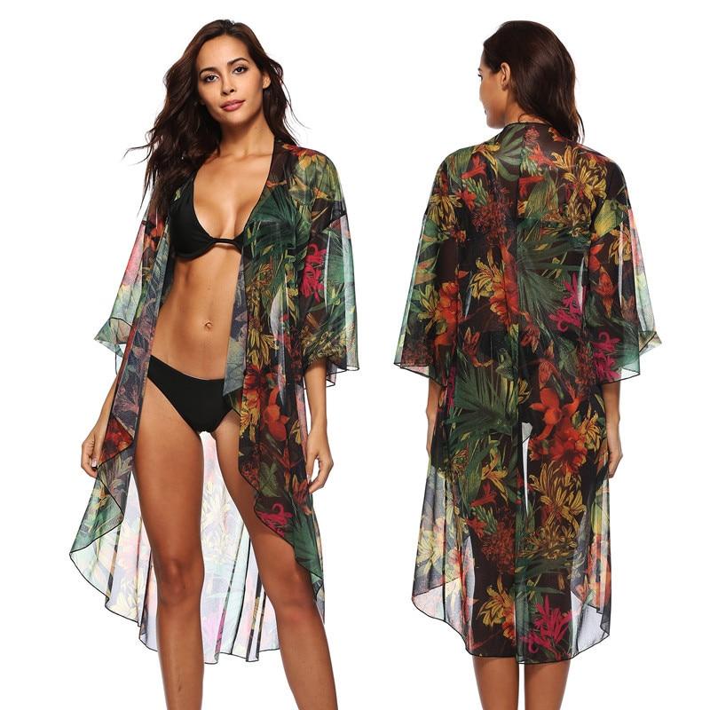 32228a009fc6 Kaftan Vestidos de playa Traje de baño para mujer Traje de baño Mujer  Cubrir para nadar Para mujeres Traje de baño Nueva gasa impresa mediados de  ropa