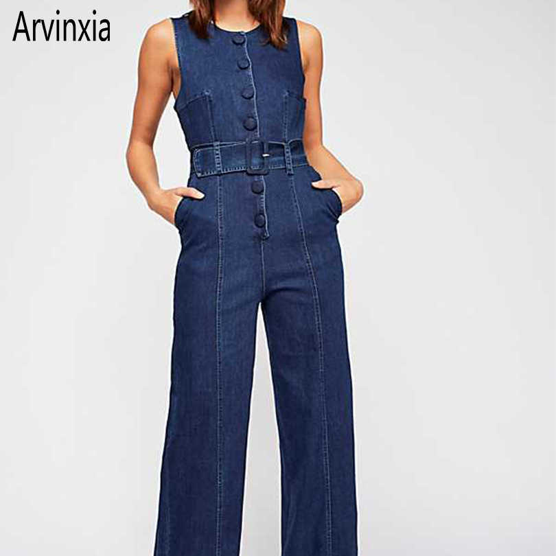 Arvinxia ZA Casual Solid Wide Leg Woman Denim Jumpsuits New Loose O Neck Buttons Ladies Rompers Sexy Sleeveless Sashes Jumpsuits