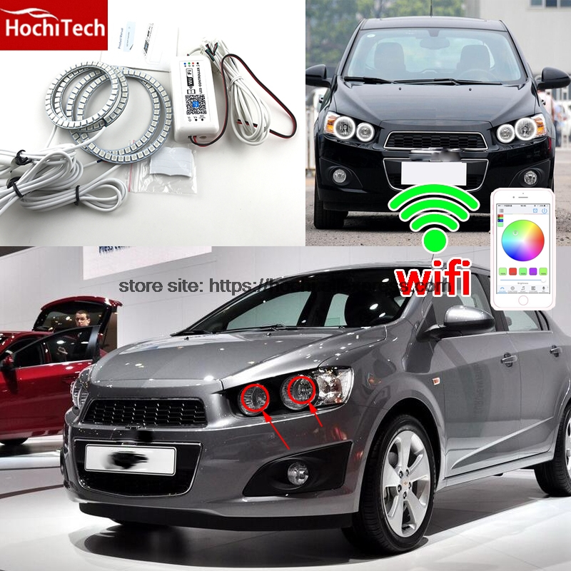 HochiTech Excellent RGB Multi-Color halo rings kit car styling for angel eyes wifi remote control for Chevrolet Aveo 2011-2014 hochitech for mazda cx 7 cx 7 2006 2012 car styling rgb led demon angel eyes kit halo ring day light drl with a remote control