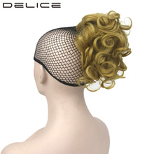 DELICE Women Clip In Blonde Afro Curly Short Ponytail Synthetic High Temperature Fiber Drawstring Rope Horse Tail Hairpiece