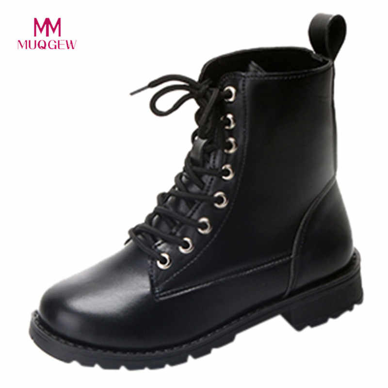 Hot sale winter boots women shoes Fashion Solid Leather Middle Lace-Up Thick casual  Boots Round Toe Shoes  zapatos de mujer