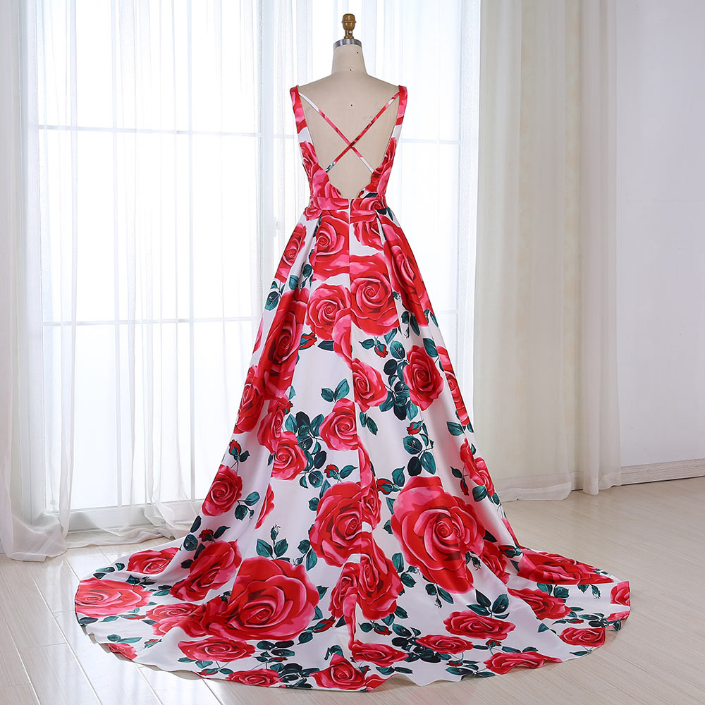 Red Floral Evening Dress 2019 Pattern Long V Neck Colorful Prom Dress Formal Party Gown Abendkleider 2019 Vestido robe de soiree in Evening Dresses from Weddings Events