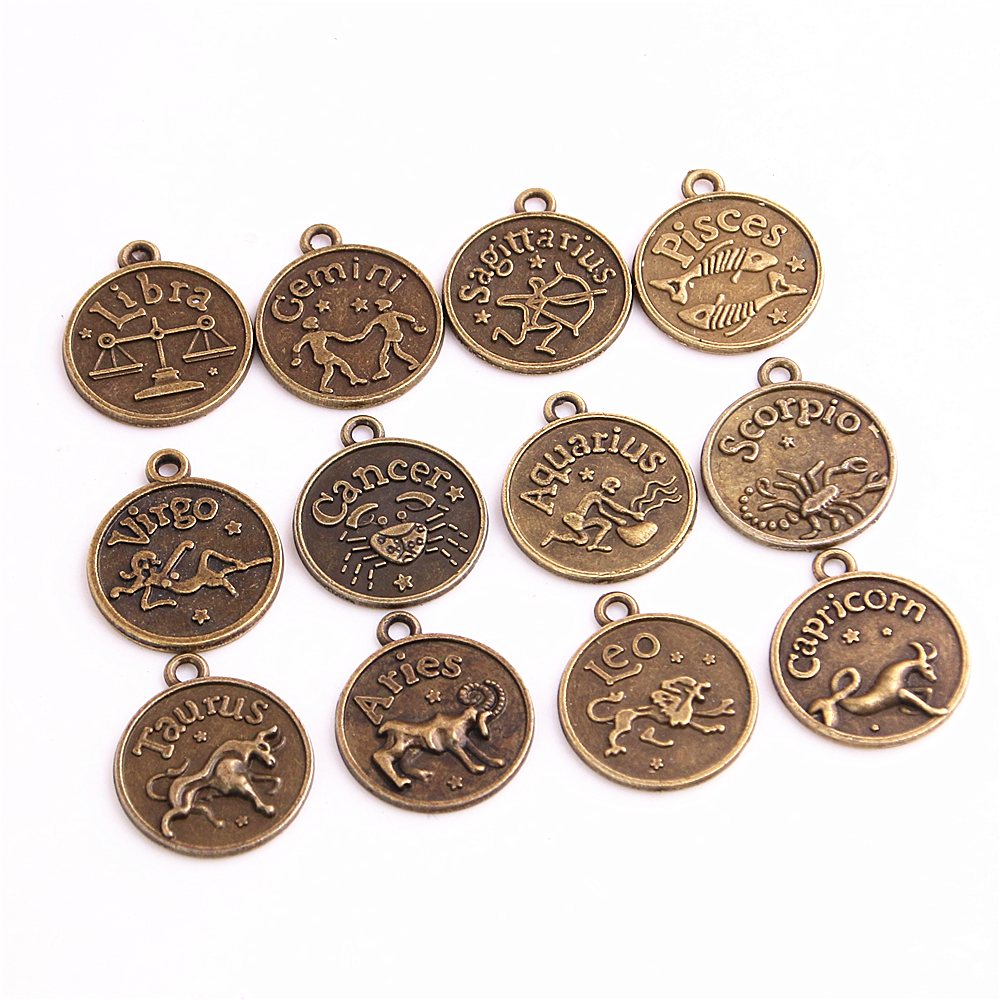 Sweet Bell 3 sets (36pcs) 17*20mm Assorted Antique bronze Zodiac charms twelve constellations Metal sign pendant D1108
