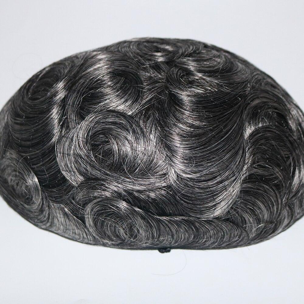 Eversilky Durable Remy Humains cheveux de remplacement Fine Mono Center Peau avant et arrière toupet pour homme cheveux naturels Perruques