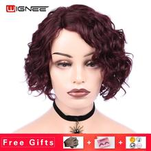 Wignee Afro Curly Brazilian Remy Hair Short Human Wig For Black Women Side Lace Part High Density Heat Resistant Short Curly Wig shaggy afro curly black heat resistant fiber fashion long capless wig for women